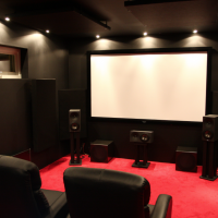 Christian, Stockholm - Home Theater with acoustic panels and broadband bass absorbers.