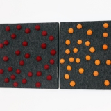 Dark grey panel with red and orange dots